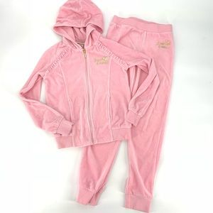 Juicy Couture Girls Pink Velour Track Suit